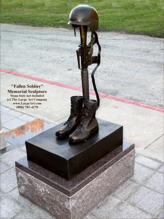 Veteran Memorial Statues Fallen Soldier Battle Cross