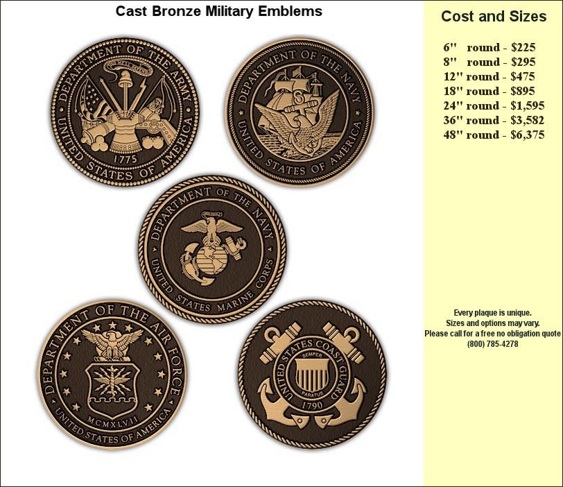 Metal Bronze Plaques for Memorials, Military and Veteran
