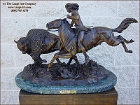 Buffalo Hunt bronze statue by Frederic Remington